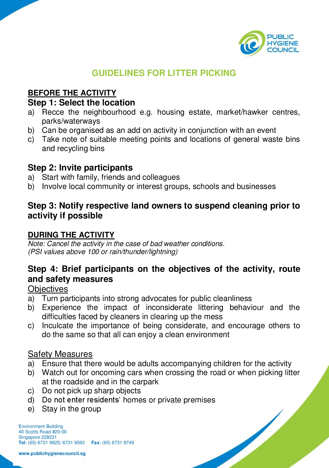 A summarized version of various guidelines for litter picking