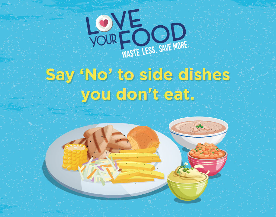 Food Waste Reduction Wobbler - Say 'No' to side dishes you won't eat