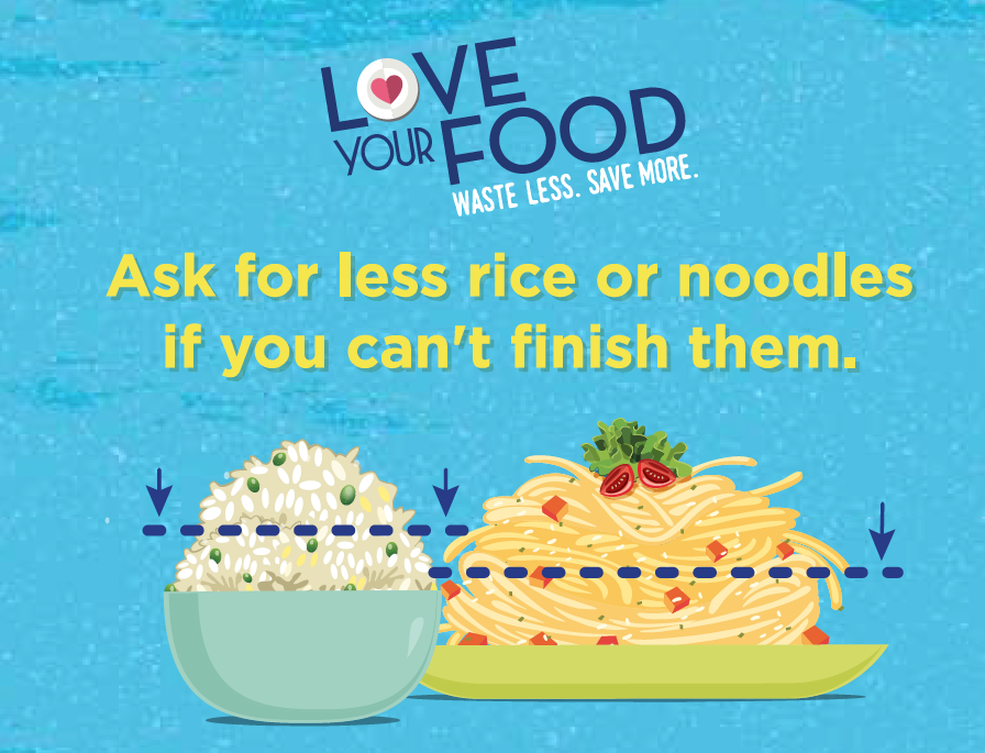 Food Waste Reduction Wobbler -  Ask for less rice or noodles if you can't finish them