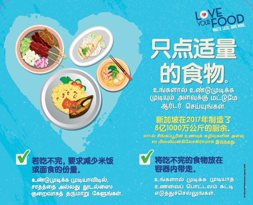 Food Waste Reduction - Tabletop Sticker (Chinese - Tamil)